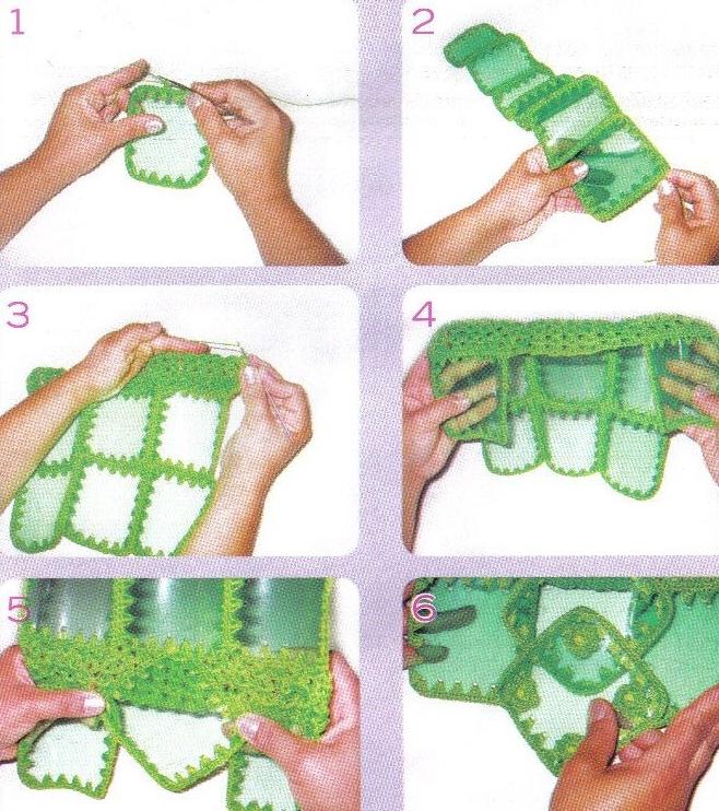 Como fazer bolsa de garrafa PET 07
