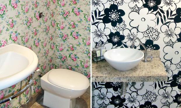 Paredes criativas e baratas -> Decoracao De Banheiro Com Tecido Na Parede