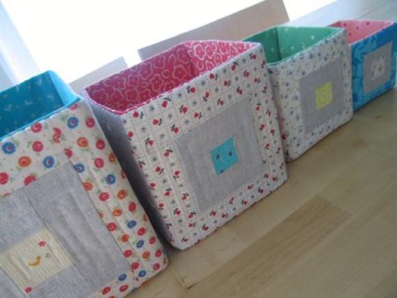 Коробка из ткани для игрушек своими руками