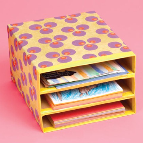 Artesanato com caixa de papelão 012