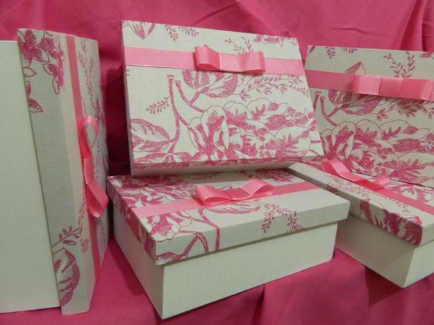 Caixa de presente forrada com tecido 03