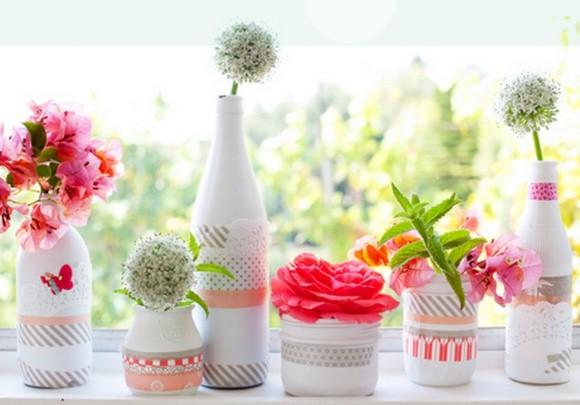 Enfeites de mesa com garrafa de vidro 002