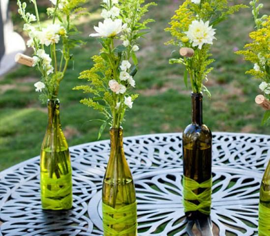 Enfeites de mesa com garrafa de vidro 003