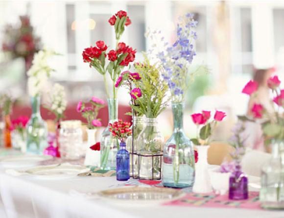 Enfeites de mesa com garrafa de vidro 004