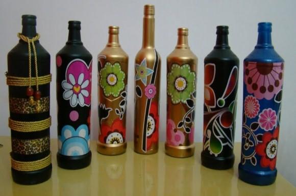 Enfeites de mesa com garrafa de vidro 006