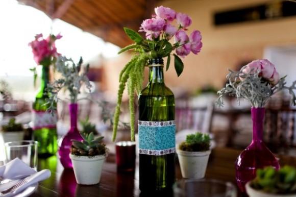 Enfeites de mesa com garrafa de vidro 008