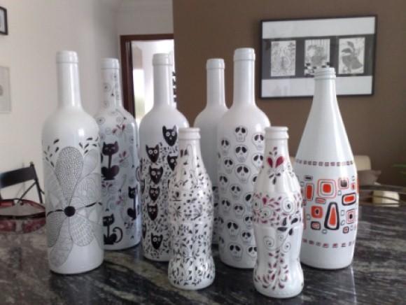 Enfeites de mesa com garrafa de vidro 009