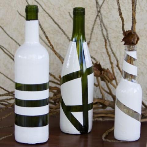 Enfeites de mesa com garrafa de vidro 016
