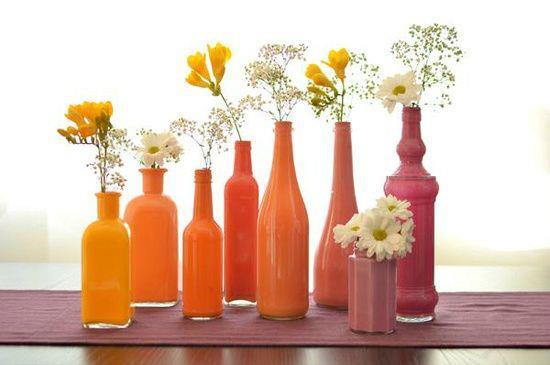 Enfeites de mesa com garrafa de vidro 17