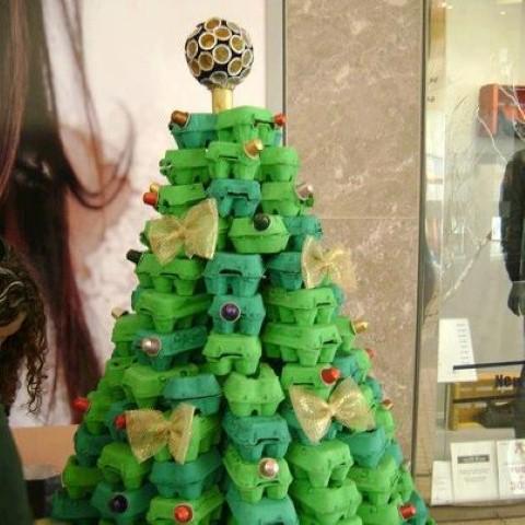 Como fazer árvore de natal artesanal 010
