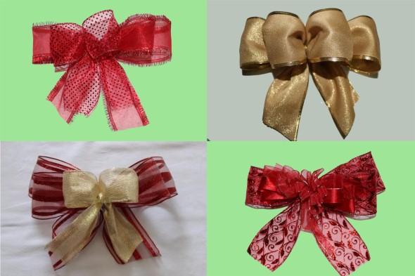 Laços de fita decorativos para o Natal 006