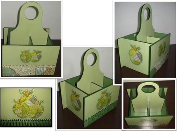 Porta talheres artesanal em MDF 007