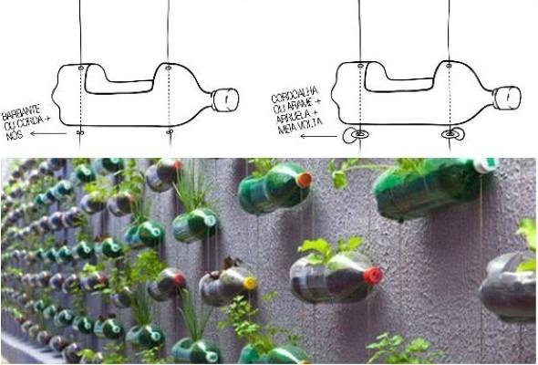 Horta feita com garrafas PET 007