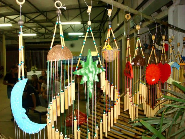 artesanato de bambu para jardim:Estas e outras idéias criativas de artesanato com bambu vocês podem