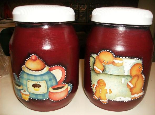 Decoupage em potes de vidro 012