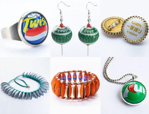 Objetos artesanais de tampinha de garrafa 013