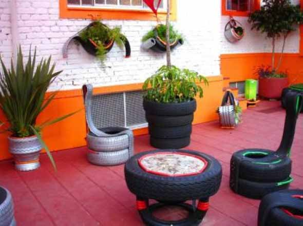 artesanato com pneus reciclando com arte. Black Bedroom Furniture Sets. Home Design Ideas