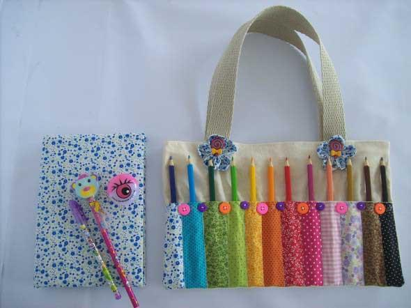 Como fazer bolsinha porta lápis em tecido 001
