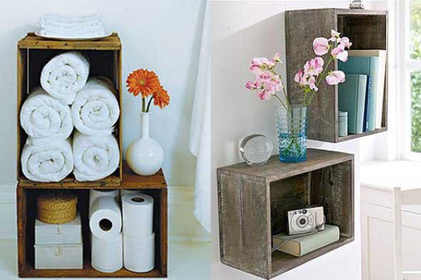 Como fazer nichos com caixote de fei -> Armario De Banheiro Feito Com Caixote
