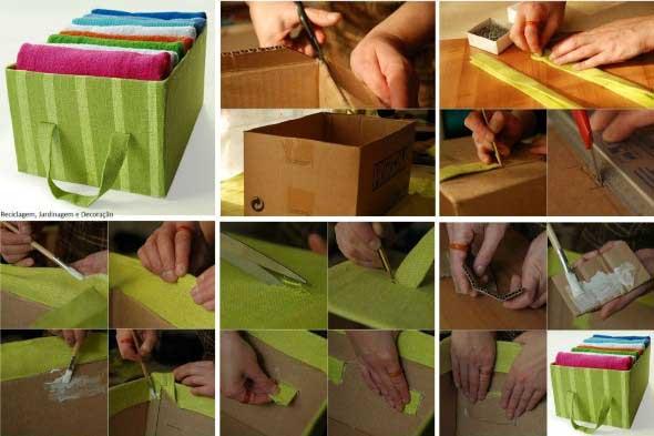 Como fazer organizador com caixas de papelão 001