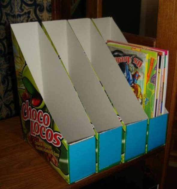 Como fazer organizador com caixas de papelão 005
