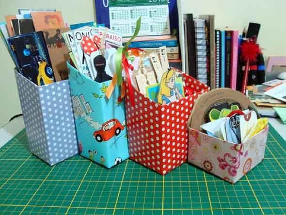 Como fazer organizador com caixas de papelão 013