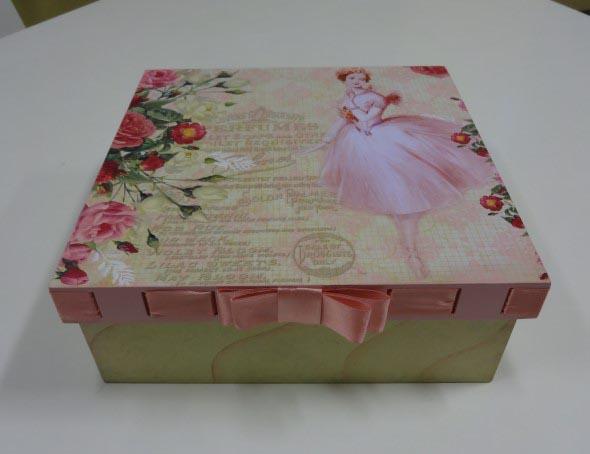 Como decorar caixas MDF com papel 001