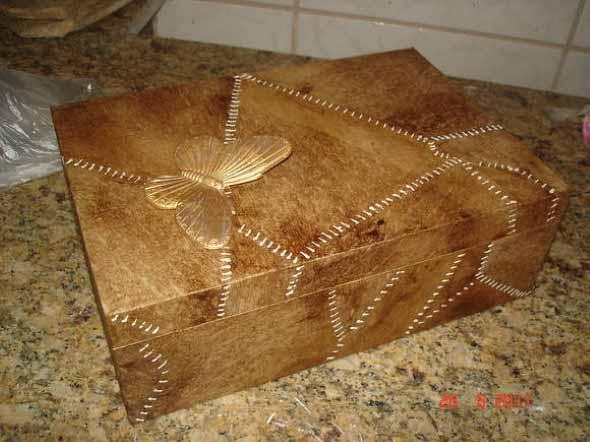 Como decorar caixas MDF com papel 002