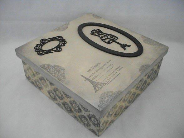 Como decorar caixas MDF com papel 004