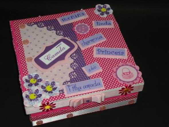 Como decorar caixas MDF com papel 007