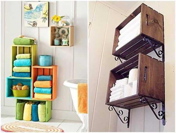15 ideias criativas de arte com caixotes de feira -> Decoracao De Banheiro Com Caixote De Feira