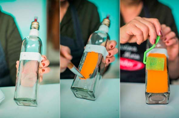 Como pintar garrafas de vidro em casa 003
