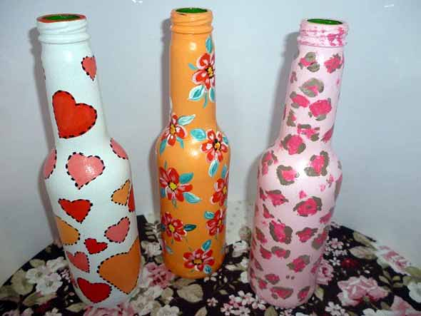 Como pintar garrafas de vidro em casa 008