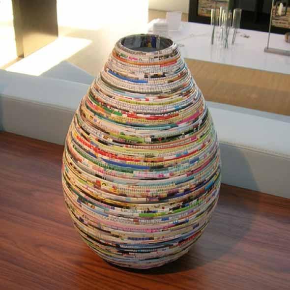 Jornais antigos – Como reciclar com artesanato 004