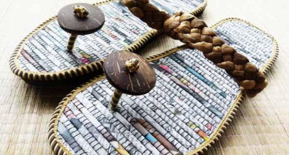 Jornais antigos – Como reciclar com artesanato 015