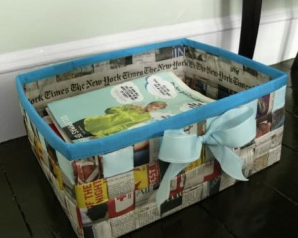Jornais antigos – Como reciclar com artesanato 016