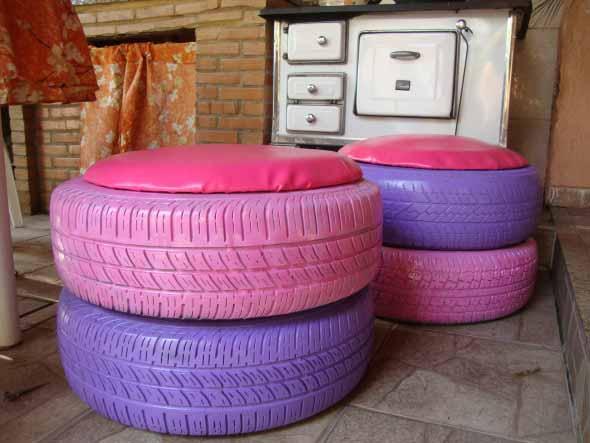 Puff artesanal de pneu reciclado 003
