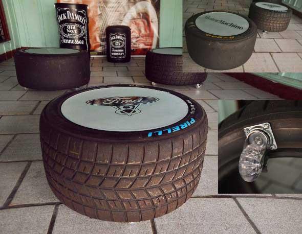Puff artesanal de pneu reciclado 011