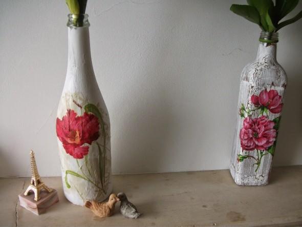 Decupagem em garrafas de vidro 006