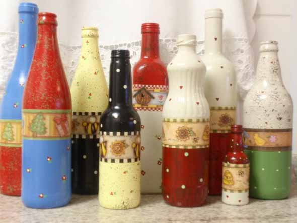 Decupagem em garrafas de vidro 010