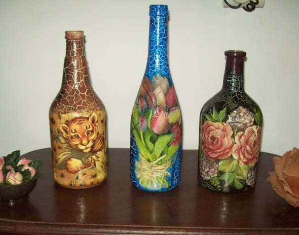 Decupagem em garrafas de vidro 012