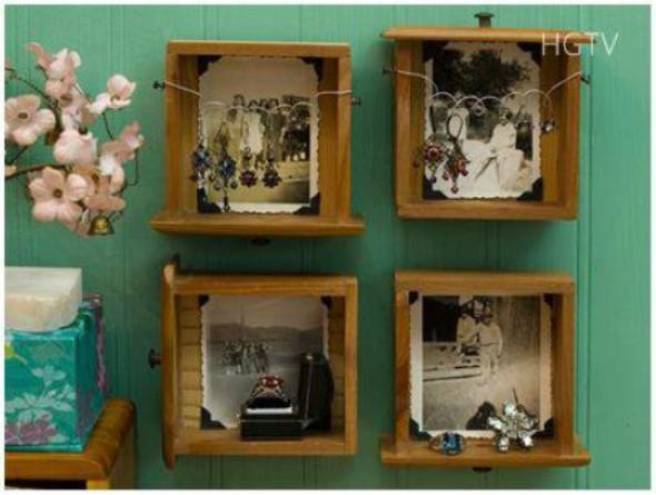 Como fazer nichos com gavetas e caixotes de feira 013