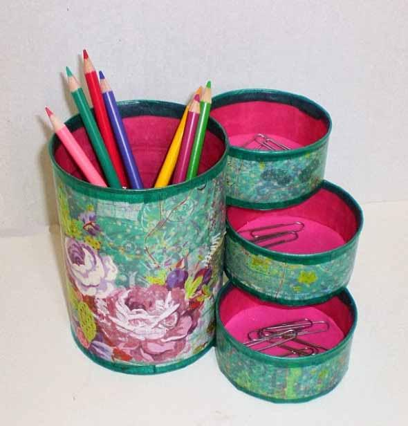 Porta-lápis com material reciclável 001