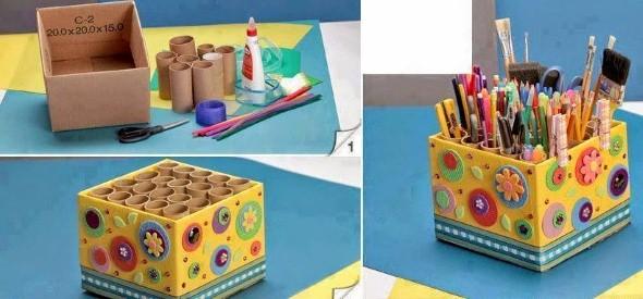 Porta-lápis com material reciclável 002