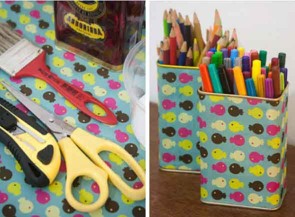 Porta-lápis com material reciclável 016