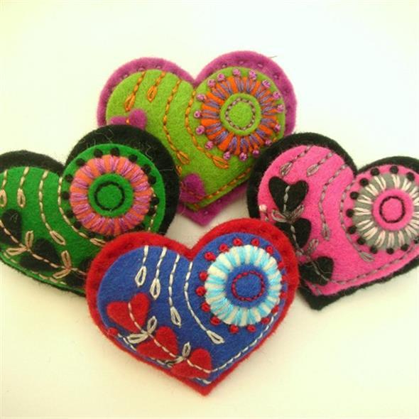 Corações de tecido 006