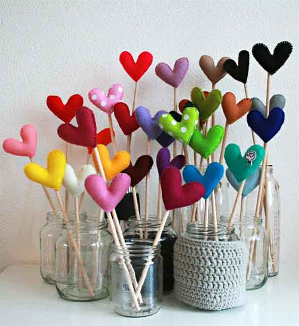 Corações de tecido 012
