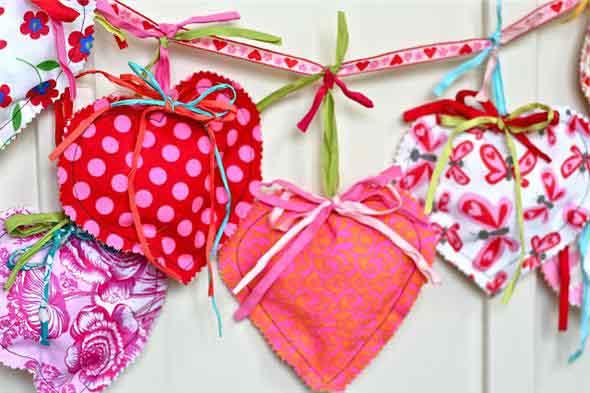 Corações de tecido 014