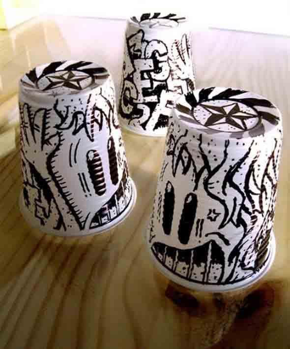 DIY – Como fazer arte com copos descartáveis 002