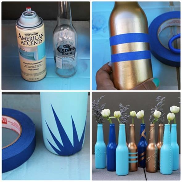 Pintura em garrafas de vidro com fita adesiva 001